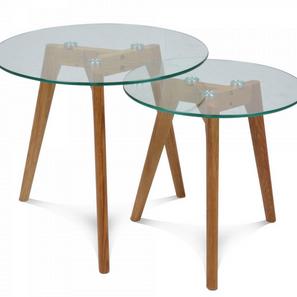 Set de 2 tables basses en verre gigogne