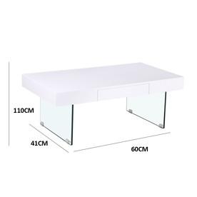Table basse blanche pieds en verre trempé