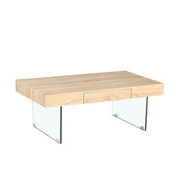Table basse bois pieds en verre trempé