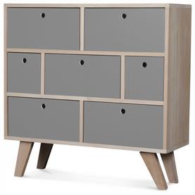 Commode en bois scandinave 7 tiroirs gris Boréal