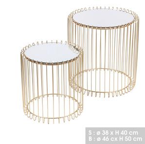 Tables gigogne dorées | Plateau en miroir