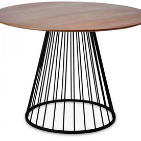 Table walnut noir et pied en métal Romane (D.110xH75cm)