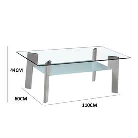 Table basse plateau verre trempé pieds gris