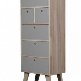 Semainier en bois scandinave 6 tiroirs gris Boréal