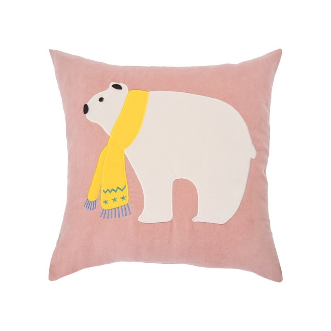 Coussin Suédine Ours Polaire 45X45 C