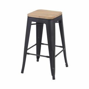 Tabouret rétro noir mat assise bois   H : 66 cm