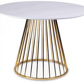 Table blanche-gold et pied en métal chromé Romane (D.110x H.75cm)