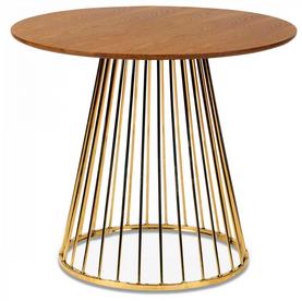 Table walnut gold et pied en métal chromé Romane (D.110xH.75cm)