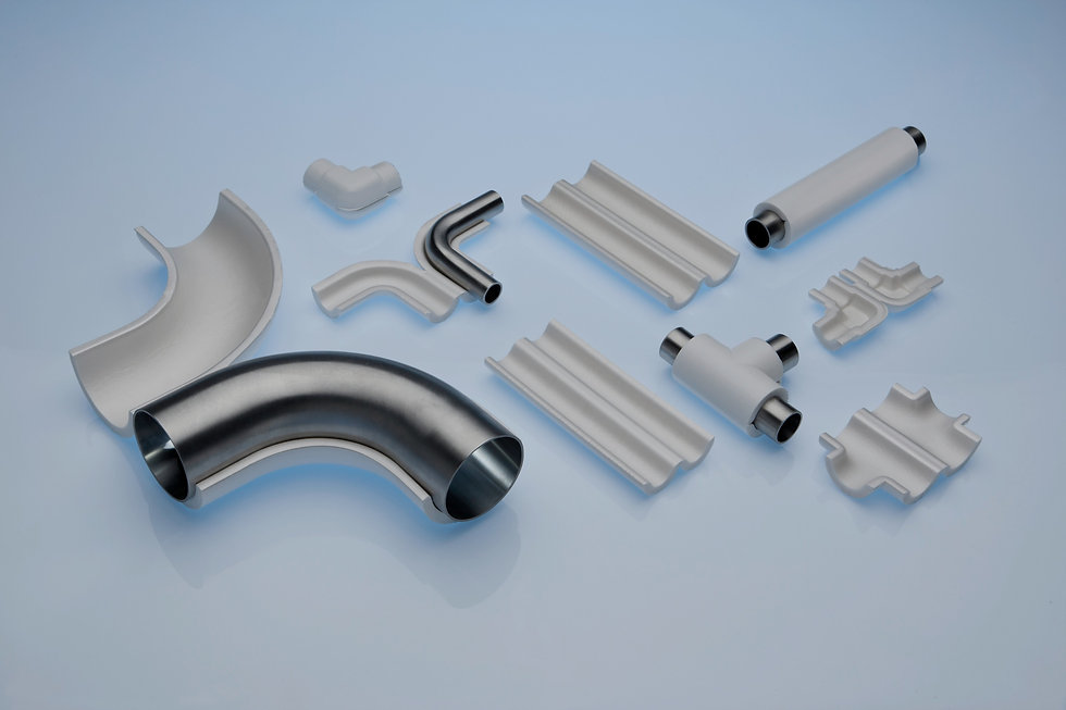 Variety of T-Tubes configurations on process lines including straights, tees and elbows