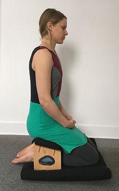 Lady on meditation bench