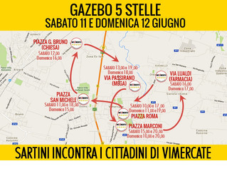 Sabato 11 e domenica 12 giugno, Sartini incontra i cittadini di Vimercate