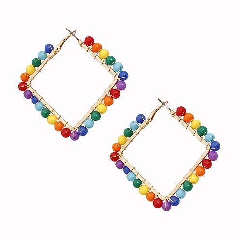 Square Rainbow Bead Earrings