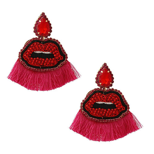 Fuchsia Lips Tassel Earrings