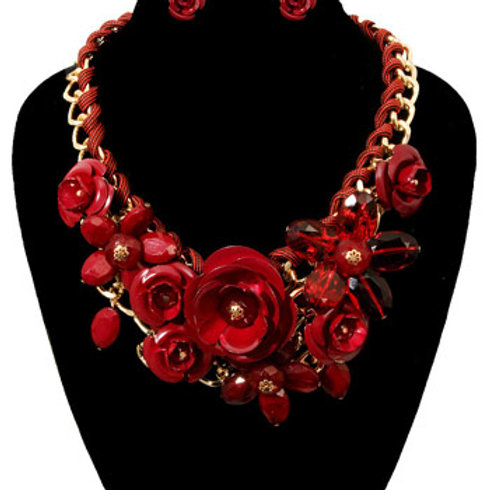 Rose Chunky Collar Necklace Set