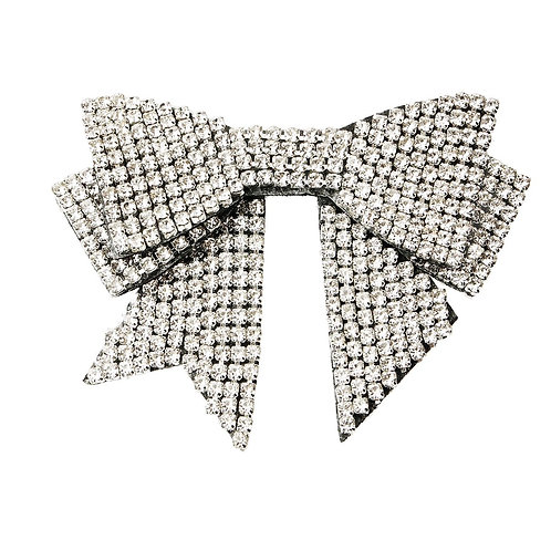 Rhinestone Ribbon Bow Brooch