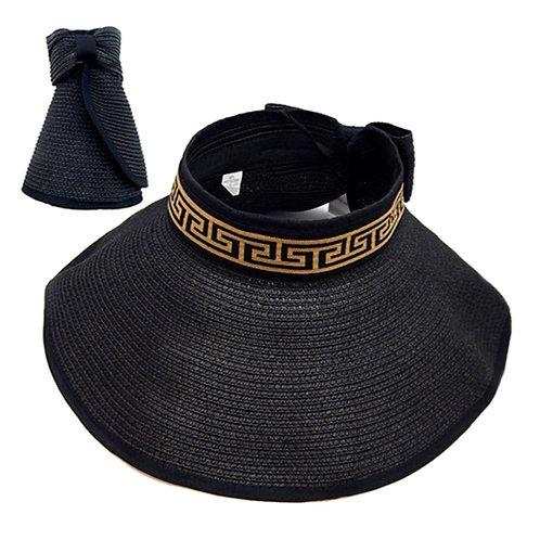 Black Versace Style Straw Roll Visor Sun Hat