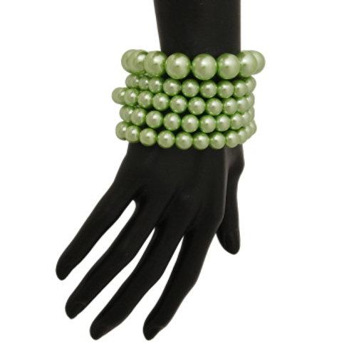 Lime Pearl Stretch Bracelet Set