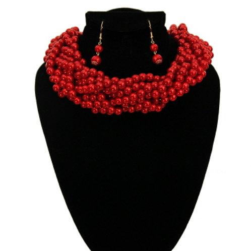 Red Pearl Braided Choker Set