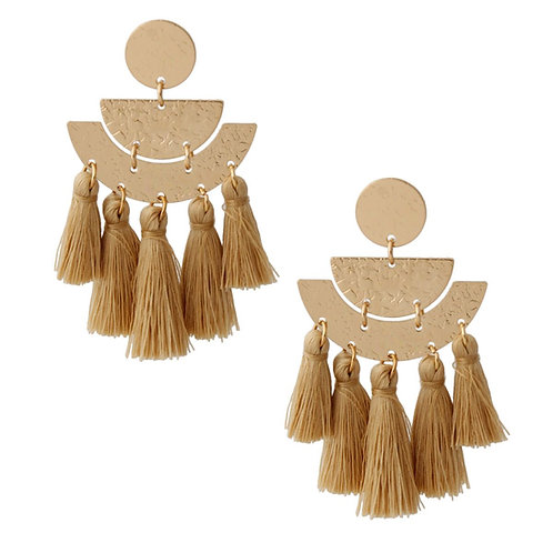 Silk Ball Tassel Drop Earrings