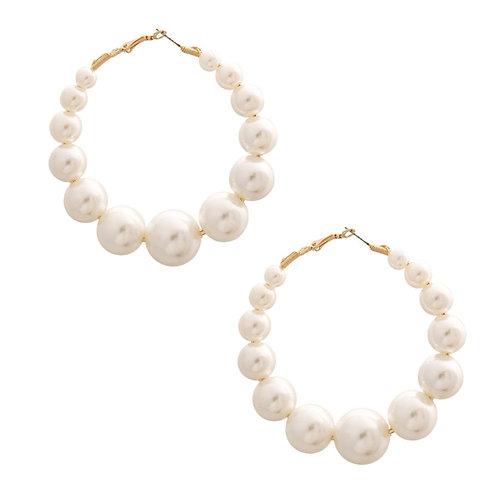 Cream Pearl Hoops