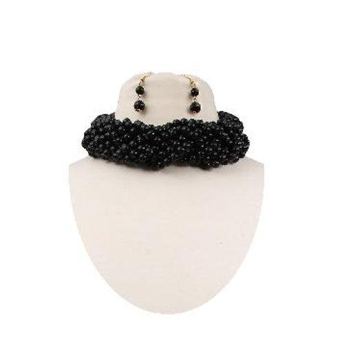 Black Pearl Braided Choker Set