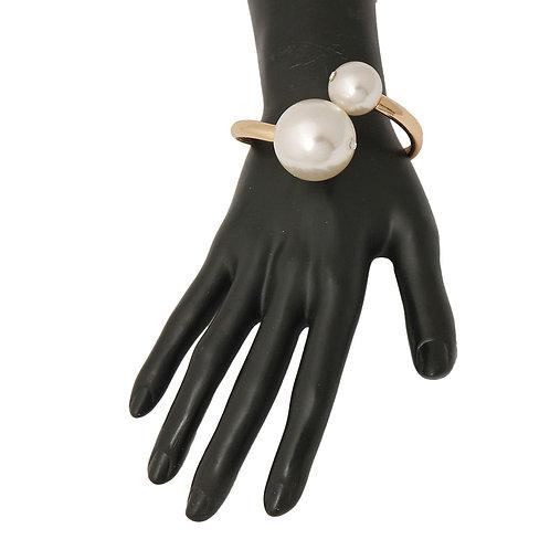 Gold Pearls Hinged Bracelet