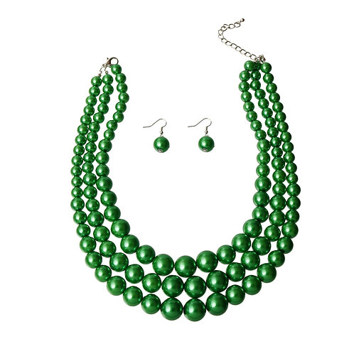 Green Multi Strand Pearl Necklace Set