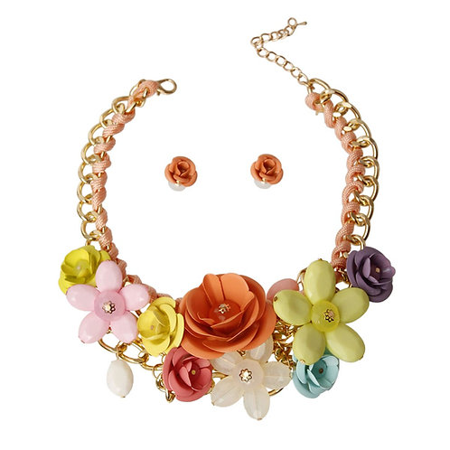 Peach Rose Chunky Collar Necklace Set