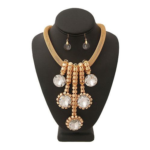 Gold Mesh Crystal Necklace Set