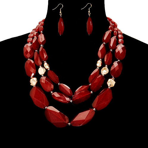 Red Beads Layered Necklace