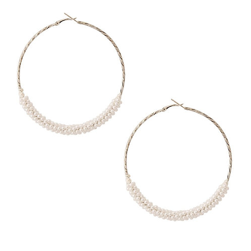 Silver and White Pearl Twist Hoops