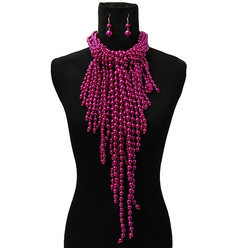 Fuchsia Pearl Fringe Necklace Set