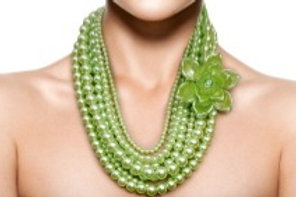 Lime Green Pearl and Flower Necklace Set