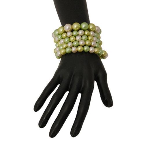 Light Green Pearl Stretch Bracelet Set