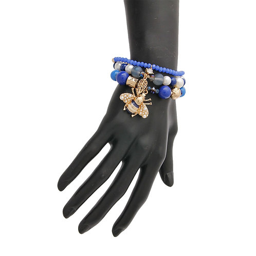 Royal Blue Honey Bee Bead Pearl Bracelet Set