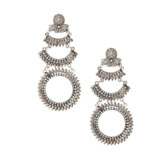 Burnished Silver Engraved Earrings