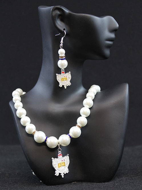 SGRho Pearl Necklace with Shield