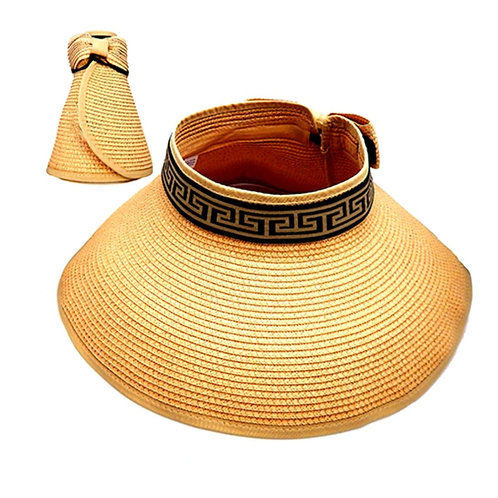 Versace Style Straw Visor Sun Hat