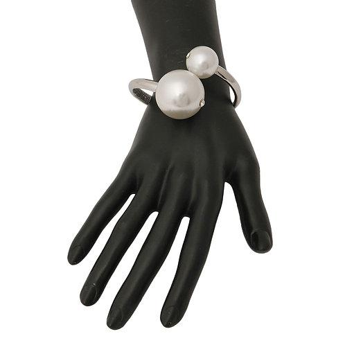 Silver Pearls Hinged Bracelet