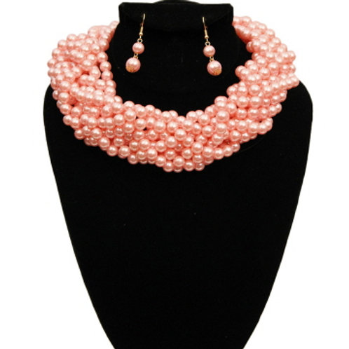 Pink Pearl Braided Choker Set