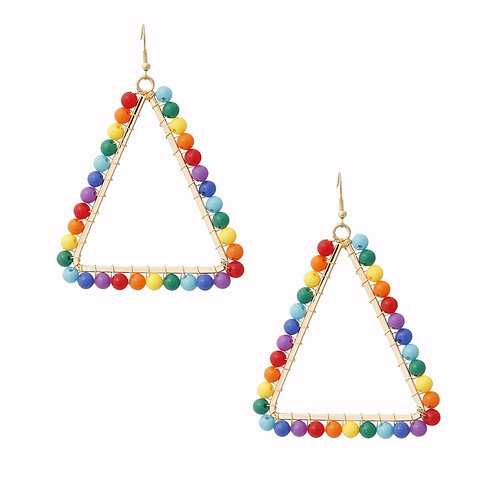 Triangle Rainbow Bead Earrings