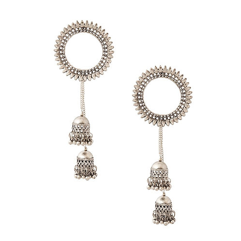 Burnished Silver Tassel Earrings