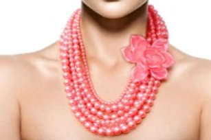 Pink Pearl and Flower Necklace Set