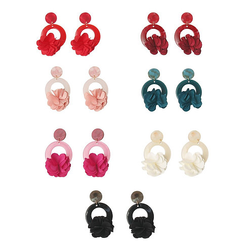 Colored Cellulose Flower Earrings