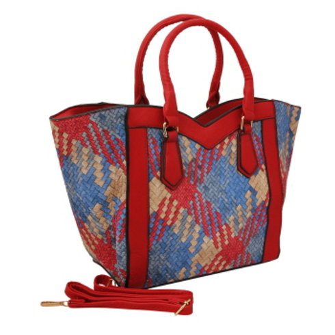 Multi Color Woven Leather Tote Bag