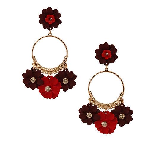 Burgundy Flower Drop Hoop Earrings