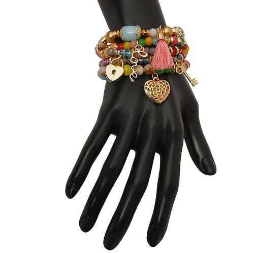 Multi Color Love Charm Bracelet Set