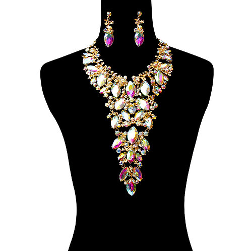 Gold And Aurora Long Bib Necklace