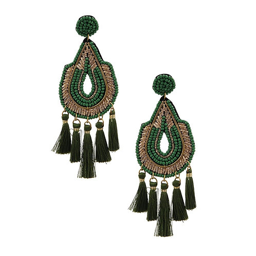 Teardrop Green Bead Tassel Earrings