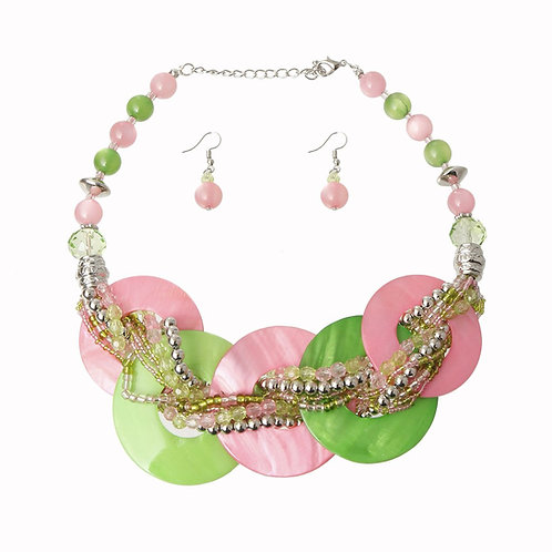 Pink and Green Beaded Disc Necklace Set